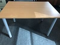 Desk\table - Wooden with grey metal legs.