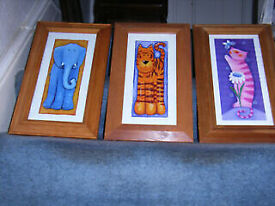 """3 pictures 2 by Kate Mawdsley 1 by Jo Parry in pine frames size 9"""" by 15"""""""