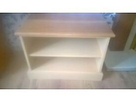 cream country house tv stand with pine top