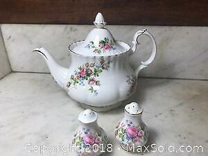 Vintage Royal Albert Moss Rose Teapot and Salt and Pepper Shakers