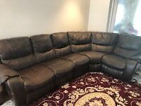 5 seats leather sofa with recliners