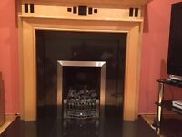 Maple Fire surround with black tile inset in excellent condition