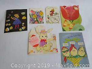 Group of six vintage Easter cards: Sisters, Children and others. Possible 60s or 70s