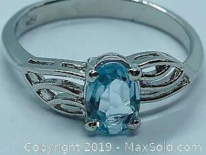 Ladies 925 Silver Ring with Blue Topaz 1.0ct Size 7.5