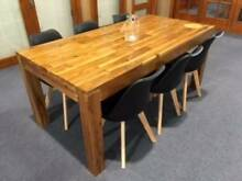 DINING TABLE,6 SETTING, SOLID ACACIA, 1.8 TABLE & 6 MODERN BLACK Vineyard Hawkesbury Area Preview