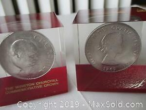 Two 1965, High Relief, Churchill, Large Size Crown, Paper Weights. 1965 Crowns.