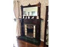 Mahogany fireplace with matching mirror