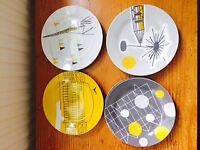 Mini Moderns 'Festival' 4 x Espresso cup and saucer set and 8 side plates-Vintage/retro/60s