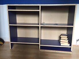 Blue and beech bookshelf
