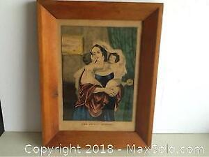Antique Currier And Ives Print The Happy Mother