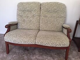 2-Seater Sofa with Dark Wood Trim