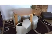 round dining table and stools