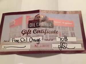 Oil Change Gift Certificate
