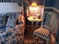 Ivory painted chair with blue check fabric seat