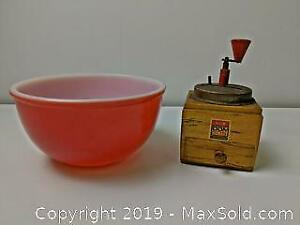 Vintage Kitchen Lot - Fire King Bowl and Grinder