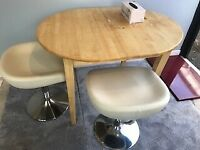 Wood Extendable Dining table with 2 Faux Leather table Stools