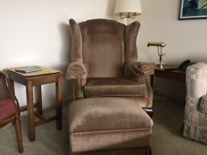 2 ARMCHAIRS WITH MATCHING FOOTSTOOL
