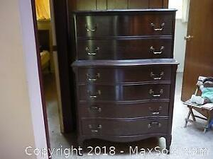 Wood highboy dresser. -C