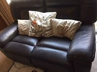 2 brown leather electic recliner sofas (x2 2seaters)