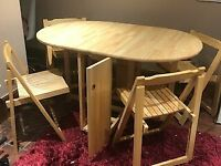 John Lewis Butterfly Drop Leaf Folding Dining Table & Four Chairs