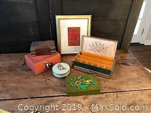Vintage Alabaster and Jewelry Boxes, Gold Framed Tea Picture