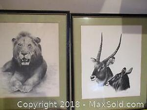 Two African Animal Art Pictures.