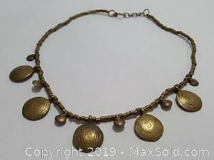 Vintage Handmade Necklace With Gold Toned Plates