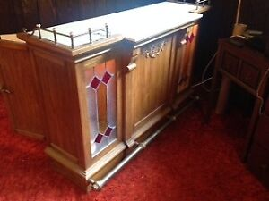 Vintage Bar- Wood, Glass, Stained Glass