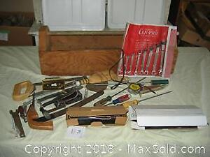 Wooden Tool Box and Contents A