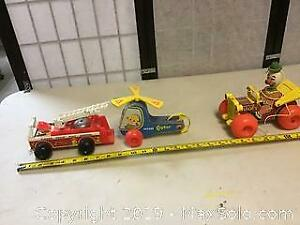 lot of vintage fisher price wooden toys helicopter firetruck