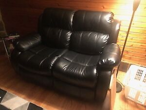 Black Leather Love Seat Recliners and Chair