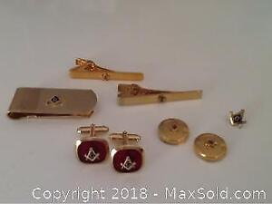 Vintage Masonic Cuff Links And Tie Clips