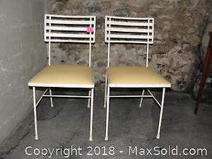 Pair Mid Century Modern Solid Steel Patio or Cafe Chairs.