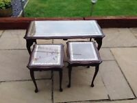 Authentic Glass Top Nest of 3 Coffee Tables