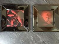2 X BEAUTIFUL BLACK GLASS PICTURES OF RED ROSES