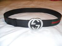 Brand new Gucci Black belt with green and red stripe