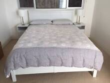 White queen bed frame and matching side tables Manly Manly Area Preview
