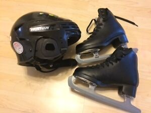 Boys Skating shoe size 13 (C) + skating helmet + accessories