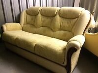 AS NEW: 3 Seater Sofa & 1 Chair with Italian Leather