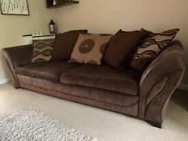 4 seater settee brown and cuddle chair