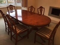 Oak Harris & Baker Dining Table & 6 Chairs - Excellent Condition - Antique