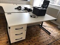 White office desk with fitted drawers
