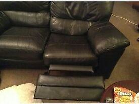 2 Seater Black Leather Double Recliner sofa