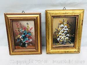 2 Vintage Floral Oil on Board Decorative Paintings