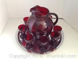 Vintage Ruby Red Pitcher And Glasses
