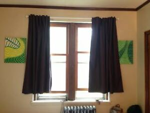 Light Cancelling Window Curtains and White Bar for Hanging