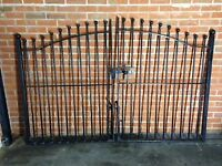 Pair of Black wrought Iron gates, approximate sizes as image.