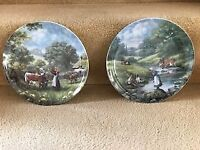 Pair of Bone China wall plates country scenes