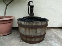 HALF OAK BARREL WATER FEATURE WITH CAST IRON PUMP - ELECTRIC PUMP INCLUDED