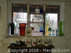 art glass, cups, shelf, perfume bottles...